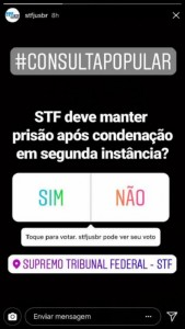 Conta do Supremo Tribunal Federalno Instagram é falsa